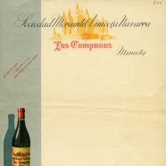 Plantilla de minuta de restaurante para imprimir con publicidad de vinos de Sociedad Mercantil Vinícola Navarra