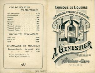 """Díptico publicitario de fábrica de licores """"A. Genestier"""" (Puy-de-Dôme, Francia)"""