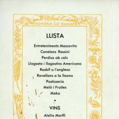 Minuta de restaurante. Fiesta de San Jerónimo. Hotel Florida. 30 septiembre 1933