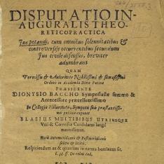Disputatio inauguralis theoreticopractica ius potandi... praesidente.Dionysio Baccio....