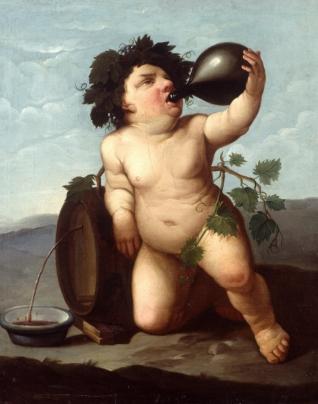 Baco niño bebiendo