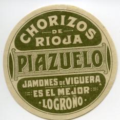 """Etiqueta de chorizos de Rioja """"Lucio Piazuelo"""" (Logroño)"""