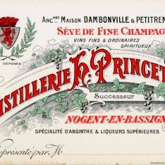 Tarjeta comercial. Destilería H. Princet. Nogent-en-Bassigny. Francia