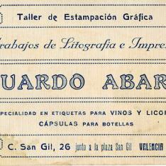 Tarjeta comercial. Imprenta de Eduardo Abarca. Valencia