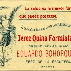 Folleto publicitario de Jerez Quina Formiatado de Eduardo Bohorques. Jerez de la Frontera. [ca. 1950]