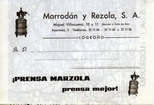 """Folleto publicitario. Prensa """"Marzola"""" de """"Marrodán y Rezola"""" (Logroño)"""