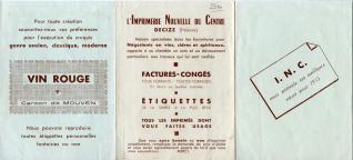 """Folleto publicitario de taller de imprenta """"L'Imprimerie Nouvelle du Centre"""" (Decize, Nièvre. Francia)"""