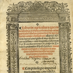 Libro de agricultura que es de labranza y crianza y de muchas otras particularidades y provechos de las cosas del campo