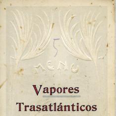 Tarjeta-Menú con listado de vinos. Vapores Trasatlánticos. Pinillos Izquierdo y Cª. Cádiz. [ca. 1912]