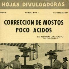 Hojas divulgadoras : corrección de mostos poco ácidos. Nº 18-49 H, septiembre 1949