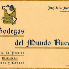 Listado de precios de vinos. Bodegas del Mundo Nuevo. Jerez de la Frontera.