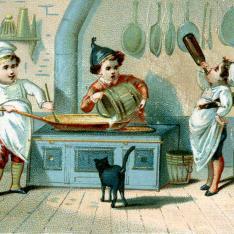 Cromo. Infantes cocinando