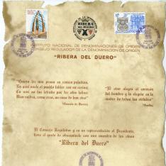 """Obsequio del Consejo Regulador de la Denominación de Origen """"Ribera del Duero"""". Burgos, 29 mayo 1983"""