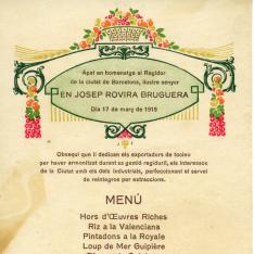 """Minuta de restaurante. Banquete homenaje al teniente de Alcalde Josep Rovira i Bruguera. Restaurante """"Martín"""", Barcelona. 17 marzo 1918"""