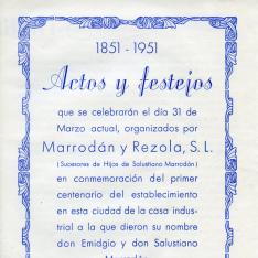 Tríptico conmemorativo del centenario de Marrodán y Rezola, S.L., fabricantes  de prensas y maquinaria vinícola de Logroño. 1951