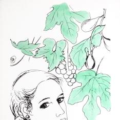 Mujer con racimo de uvas
