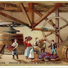 Tarjeta comercial. Fabricación de vino. Clos Vougeot. Francia
