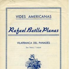Folleto publicitario de vivero de vides de pie americano. Rafael Batlle Planas. Vilafranca del Panadés