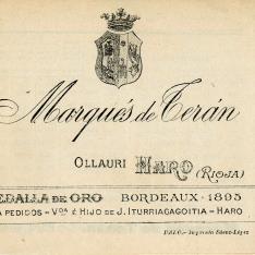 Listado de precios. Bodega Marqués de Terán. Ollauri. Haro. La Rioja. 1903