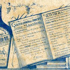 """Tarjeta comercial. Vino reconstituyente """"Aníbal"""". Compañía Mata. Málaga. [ca. 1928]"""