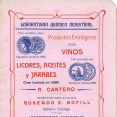Folleto de productos enológicos para vinos, licores, aceites y jarabes. Casa R. Cantero. Valencia. 1906