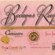 Papel secante con publicidad de Bodegas Riojanas. [ca. 1959?]