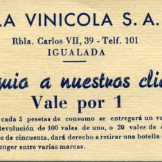 Tarjeta vale obsequio de 1 peseta. La vinícola, S.A. Igualada