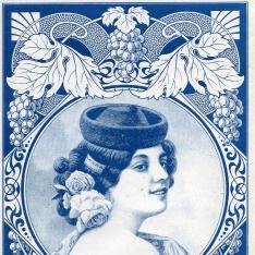 Etiqueta de caja de uvas pasas moscateles de Málaga. Mujer con gorro goyesco