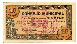Billete de diez céntimos