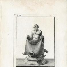 Estatua de Sileno montado en un odre