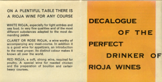 "Decálogo del perfecto bebedor de los vinos de Rioja = ""Decalogue of the Perfect Drinker of Rioja Wines"""