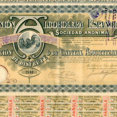 Unión Alcoholera Española, S.A. Acción de disfrute o de capital amortizado. 1919