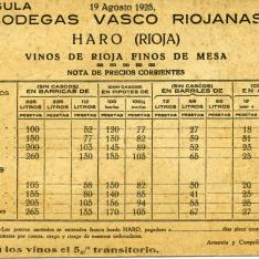 Lista de precios de vinos finos de mesa de Rioja . Bodegas Vasco Riojanas (Haro, La Rioja). 19 agosto 1925