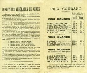 Folleto publicitario de vinos franceses con boletín para hacer pedido. [ca. 1900]