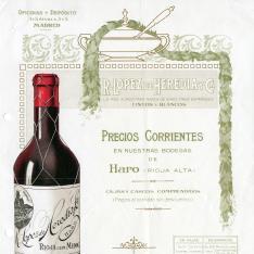 Listado de precios de vinos. Bodegas R. López de Heredia y Ca. Haro. La Rioja