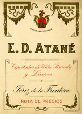 Nota de precios (plantilla de imprenta). E.D. Atané, exportador de vinos, brandy y licores (Jerez de la Frontera)
