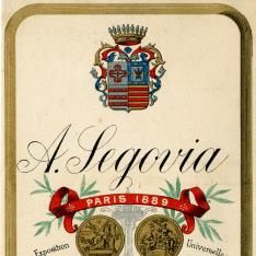 Tarjeta comercial. Bodegas A. Segovia. Jerez de la Frontera