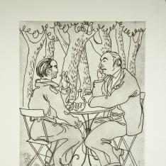 Federico y Pablo en Recoletos