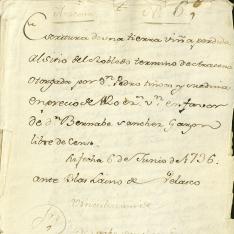 Ventas - 1736, enero, 2. Aracena (Huelva)