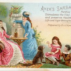 Tarjeta comercial de bebida estimulante Ayer's Sarsaparilla